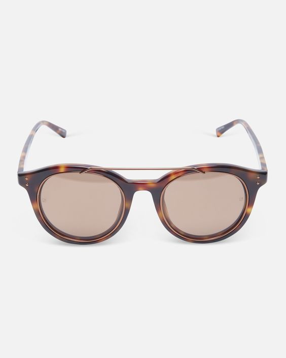 Tortoise Shell Sunglasses with Bronze Hardware and Round Frame