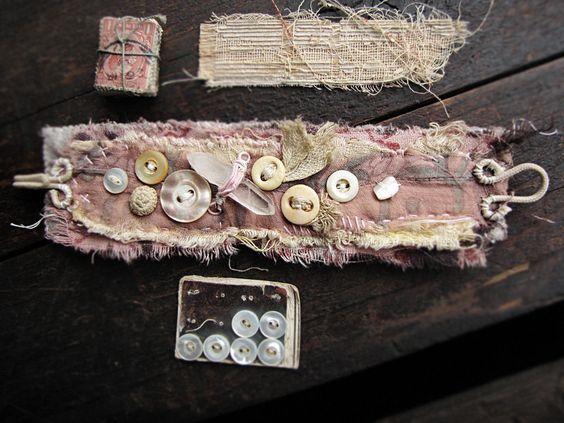 Self Reliance - vintage textile wrist cuff - vintage lace - antique buttons - quartz crystal