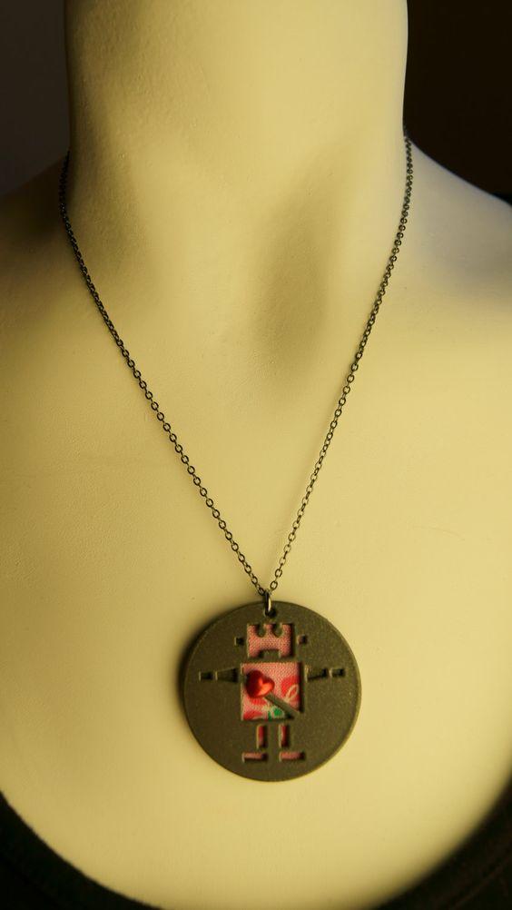 Girl robot necklace