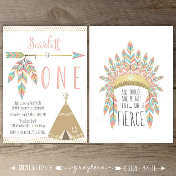 Pow wow Birthday Party Invitations •ONE • arrows feathers headdress tribal native teepee • pink and gold • DIY Printable