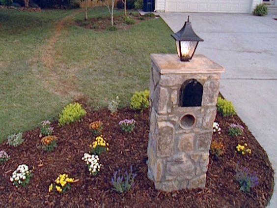 Rock Yard Lights On Columns : How to install a light fixture on stone column mailbox