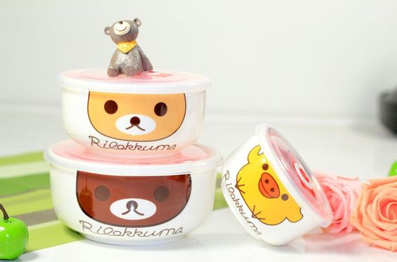 Cute Ceramics Rilakkuma & Yellow Chicken Microwave Preservation Bowl with Plastic Cover Soap Bowl Dinnerware Set $18.04 Free Shipping