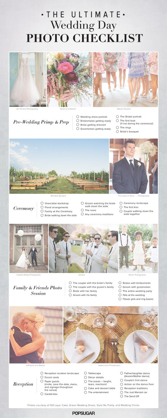 The Ultimate Wedding Day Photo Checklist: Pin Now, Save For Later...I would add way more this is a great outline!