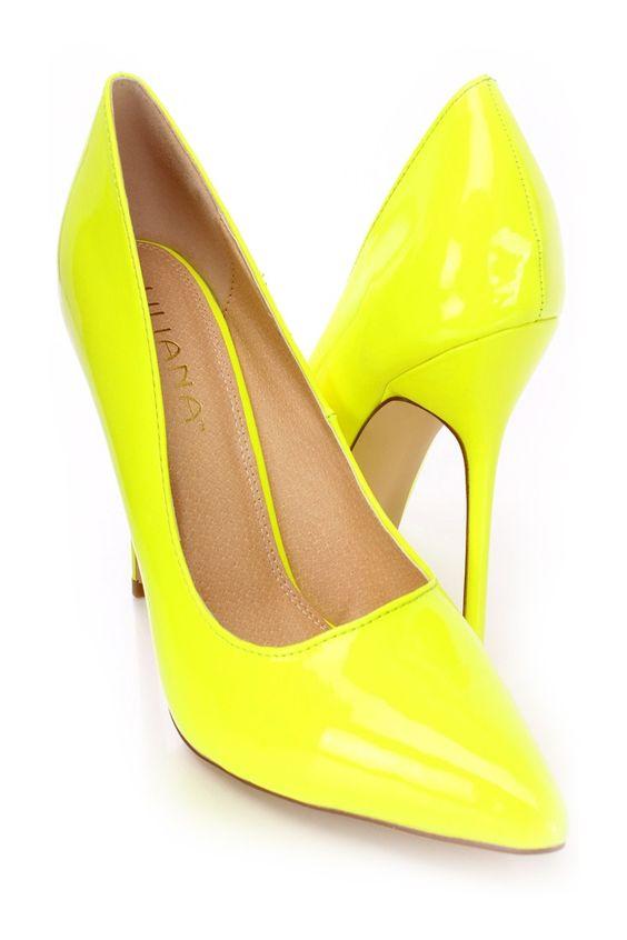 Yellow Single Sole Pump Heels Patent