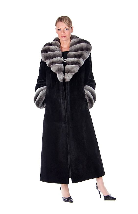Chinchilla Collar Black Sheared Mink Fur Long Coat for Women - Size 18