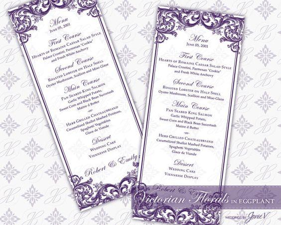 DIY Printable Wedding Menu Template Printable by WeddingsbyJanieV - sample wine menu template