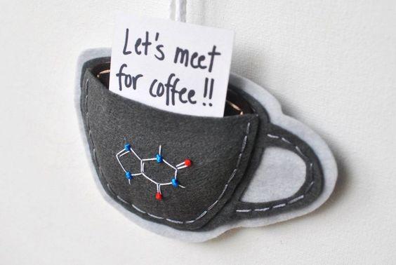 CHRISTMASINJULY Caffeine Molecule Coffee Mug Ornament - Felt Gift Card Holder. $24.00, via Etsy.
