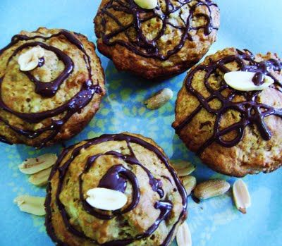 Oatmeal Peanut Butter Banana Muffins with Dark Chocolate Drizzle