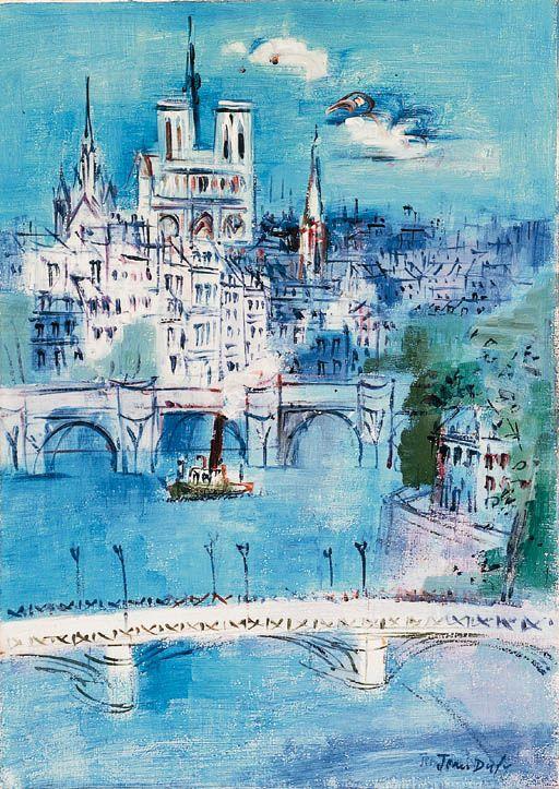 JEAN DUFY (1888-1964) PARIS, LA SEINE ET NOTRE-DAME http://www.christies.com/lotfinder/lot/jean-dufy-paris-la-seine-et-notre-dame-1374852-details.aspx?intObjectID=1374852