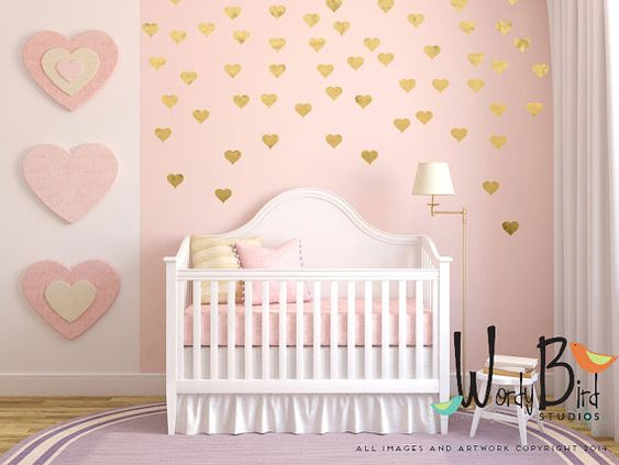 Gold heart decals Make a focal area, or do the whole wall. Use your creativity to create any pattern you like on one accent wall or a whole: