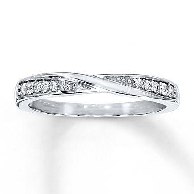Diamond Wedding Band 1/15 ct tw Round-cut 10K White Gold- possible wedding band?