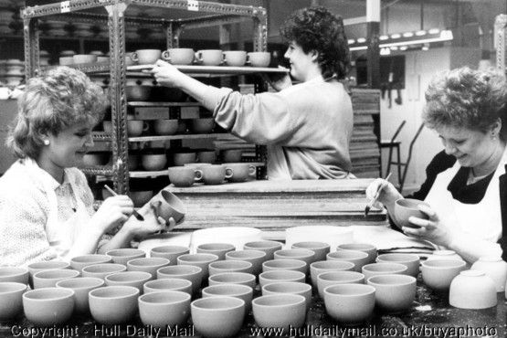1985 -  Lorraine Chew, Sue Stephenson and Tina Hill at work putting new handles on the new range of cups at Hornsea Pottery