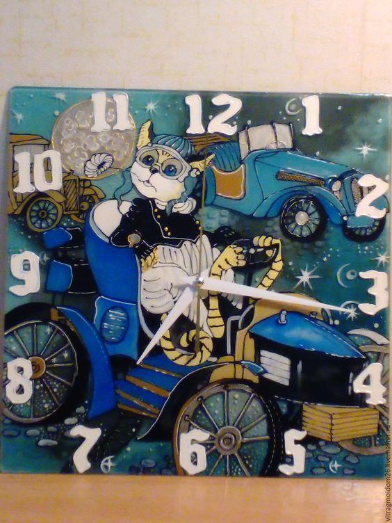 Купить часы настенные Ночная прогулка - комбинированный, часы, Роспись по стеклу, кот, ночь, небо