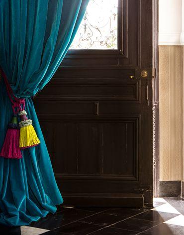 Deurgordijn in CORTO Pruisisch blauw - Velours in 100 polyester: