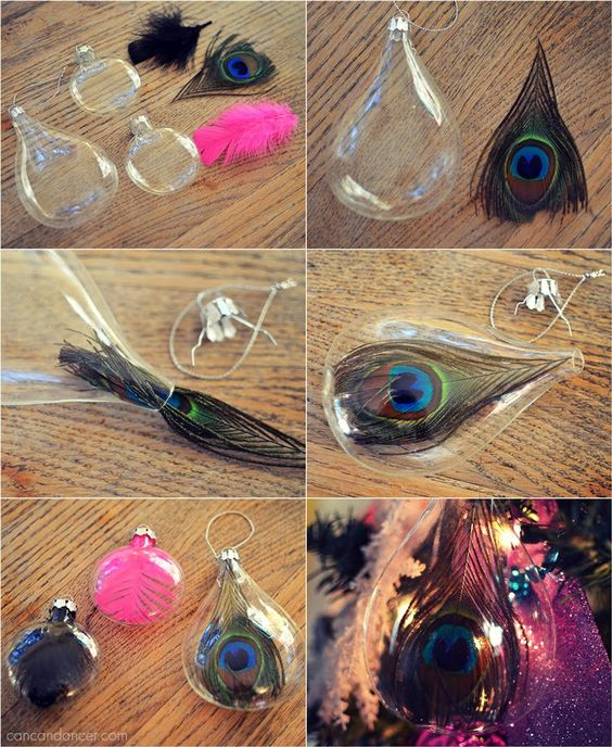DIY Feather Ornaments (except not peacock feathers cause they're bad luck)