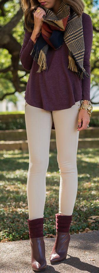 #winter #fashion / violet knit + scarf