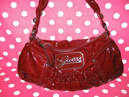 New Guess Red Shiny Patent Rola Logo Handbag Purse Tote Shoulder Hobo Bag | eBay