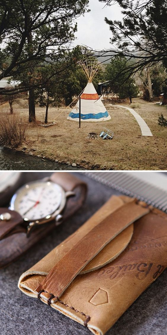 Teepee & small leather case - band closure