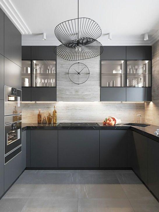 101 Fabulous Dark Grey Themes For Kitchen Design Ideas Modern Grey Kitchen Kitchen Interior Design Modern Modern Kitchen Design