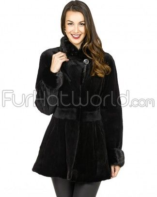 The Bailey Black Coat: *Sheared Finland Mink Body *Extra wide