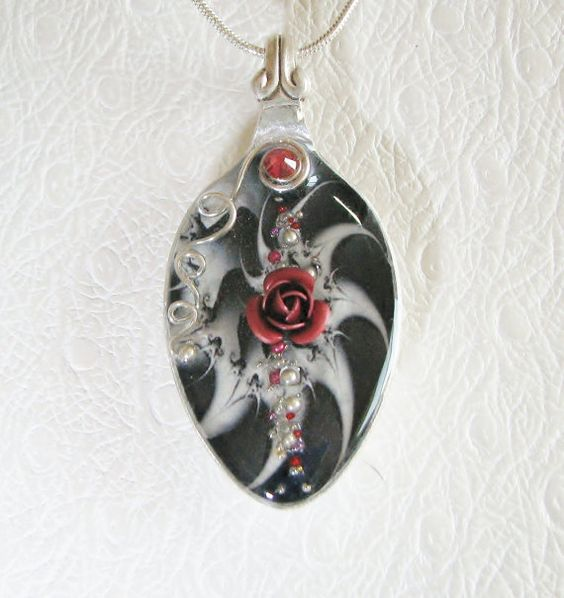Fractal Pendant Lights: Spoon Necklace, Spoon Pendant With Red Rose, Black & White
