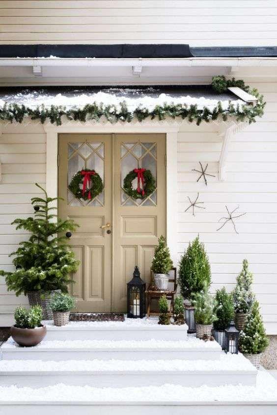 Addobbi Natalizi X Esterni.Addobbi Natalizi Per Esterno Natale Rustico Decorazioni Natalizie Da Esterno Porta Natalizia