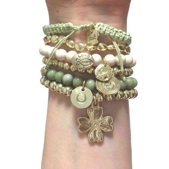 CAT HAMMILL  ( キャットハミル ) ブレスレット New special Chunky Gold Sets gold green charms bracelet クローバー チャーム ブレスレットセット グリーン ゴールド ポーチ セット : 海外 オーストラリア ...