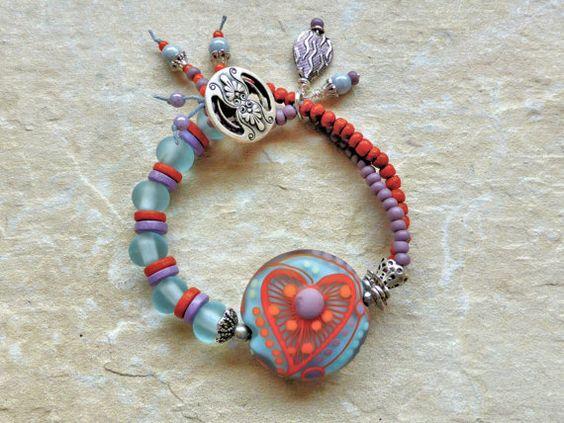 Bracelet blue orange bracelet heart bracelet by JewellerybyMaxine