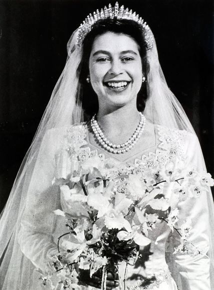 Queen Elizabeth on her wedding day: