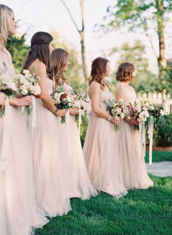 Jenny Yoo for BHLDN bridesmaids in Sandstone blush beige