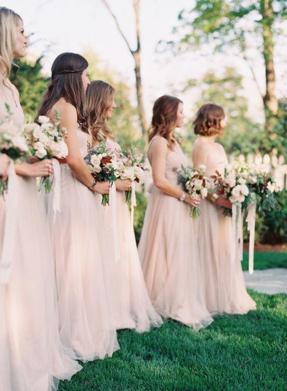 Jenny Yoo for BHLDN bridesmaids in Sandstone blush beige