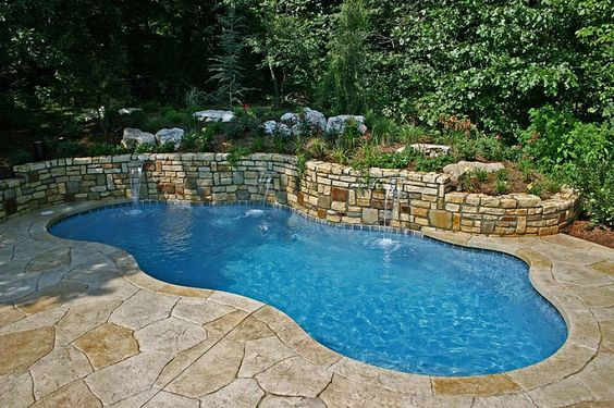Small unique design in ground above ground pools in for Pool design okc