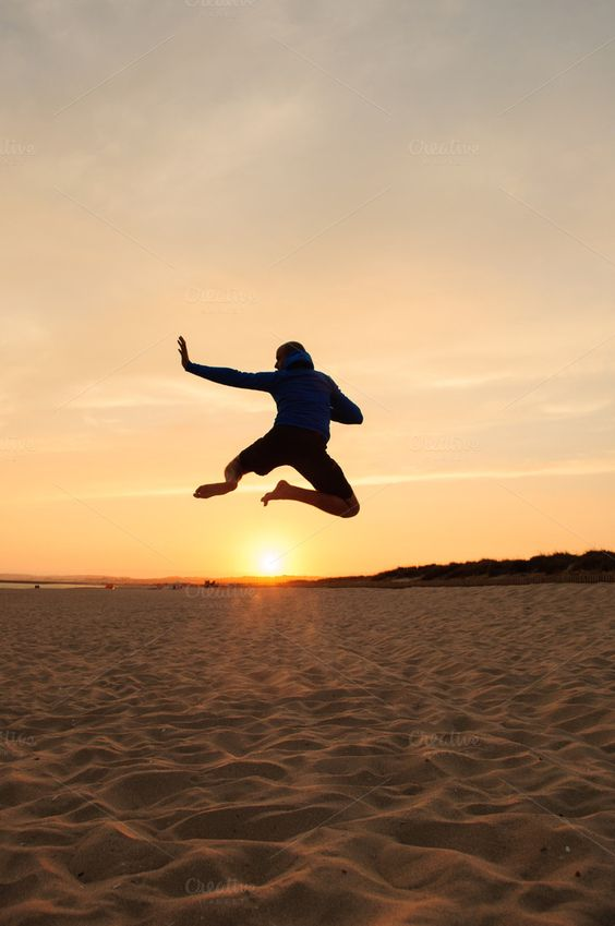 Check out Man silhouette. Jumping at sunset by Irantzu Arbaizagoitia on Creative Market