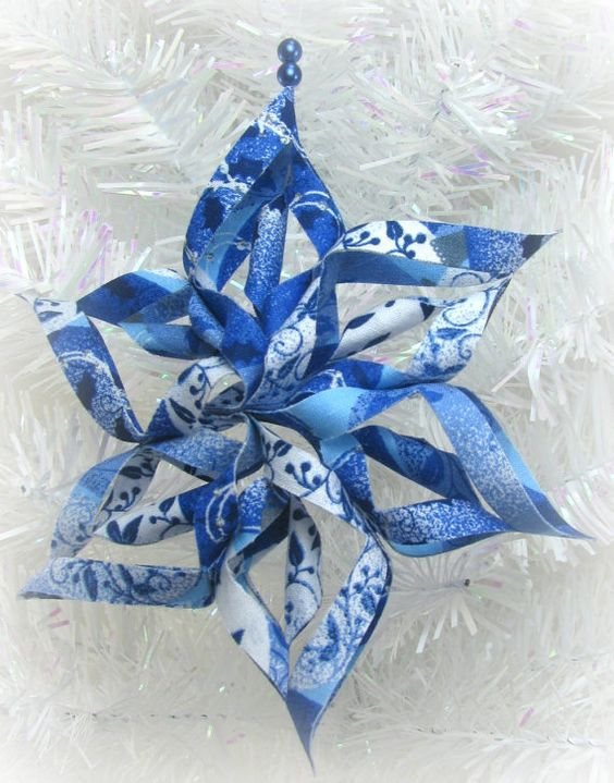 Fabric Ornaments Patterns : 3d fabric snowflake ornament, blue christmas tree Pinterest Snowflake ornaments and Fabric ...