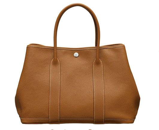 Hermes Gold Leather Garden Party Medium Bag
