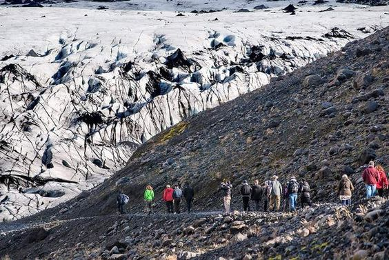 I trek to the snout of one outlet glacier, Solheimajökull, at the south end of Myrdalsjökull, while more athletic tourists opt for a guided hike on the ice itself.