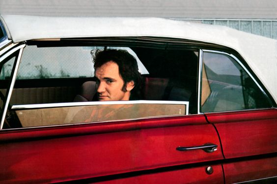 Quentin Tarantino in L.A. in 1994, in his 1964 Chevrolet Malibu, in which John Travolta drives an overdosed Uma Thurman to his drug dealer's house in Pulp Fiction.