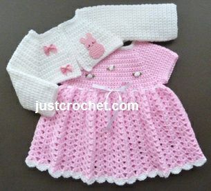 Free baby crochet pattern for dress and bolero http://www.justcrochet.com/dress-bolero-usa.html #justcrochet: