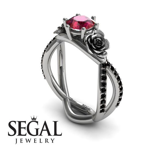 Rose Engagement ring Rose Ring 14K White Gold Rose by SegalJewelry