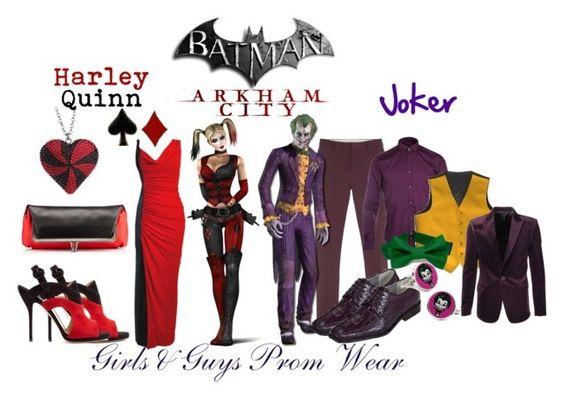 """Batman: Arkham City - Harley Quinn & Joker"" by gamer-geek-chic ❤ liked on Polyvore featuring Paul Smith, Remus Uomo, Tarina Tarantino, Versace, Christian Louboutin and Paul Andrew"