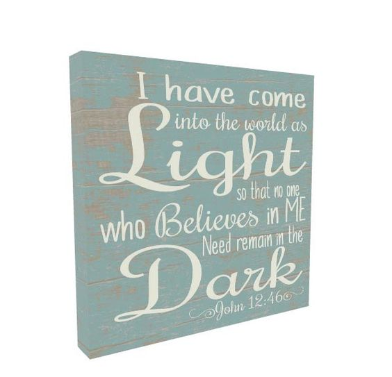 Christian Gift, Religious Art, Christian Wall Art, Bible Verse, Religious Sign, Dinning Room Decor, I have come into the world as light by MadiKayDesigns on Etsy