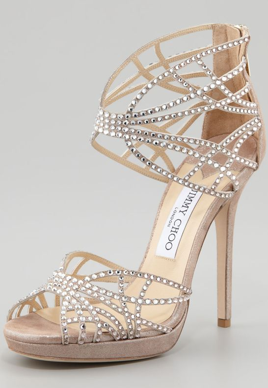 Jimmy Choo Diva Chrystal Cutout Sandal... Perfect for parties, chillin with the girls! Homecoming! Prom!: