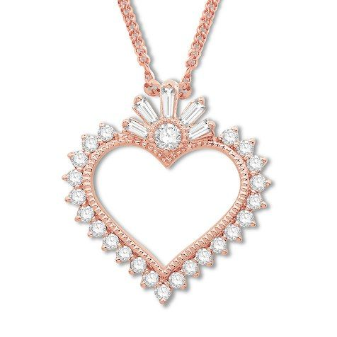 879 Kay Emmy London Diamond Heart Necklace 1 3 Ct Tw 10k Rose Gold Heart Pendant Jewelry Heart Pendant Diamond Heart Jewelry