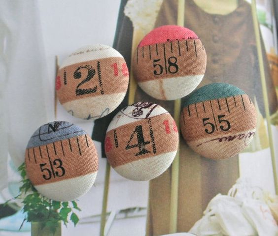 5 gros magnets aimanté beige chiffre atelier nombre couture : Accessoires de maison par tranquillement