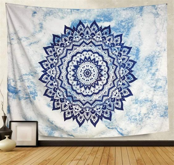 This Blue Diamond Tapestry is available today and is stitched with beautiful mandala designs across a white and blue blended background. Love your tapestry. Love your life.