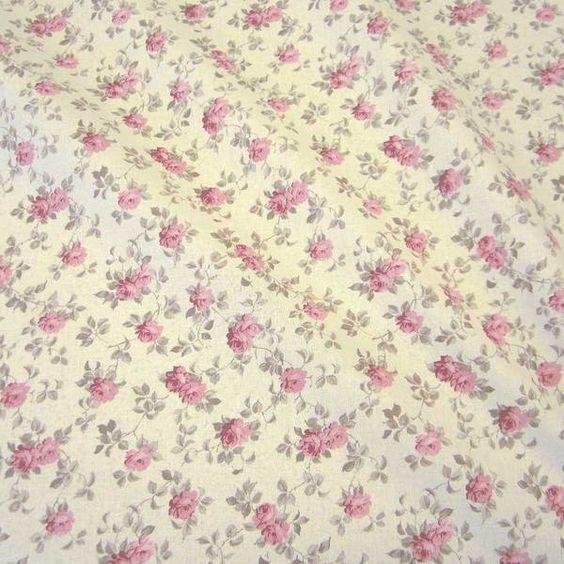 Stoff Rosen - Stoff Baumwolle Rosen rosa ecru Cretonne Nessel - ein Designerstück von werthers-stoffe bei DaWanda