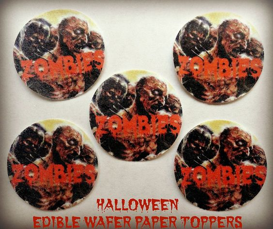 12 HALLOWEEN ZOMBIES SCARY UNDEAD PRECUT EDIBLE CAKE TOPPERS 15