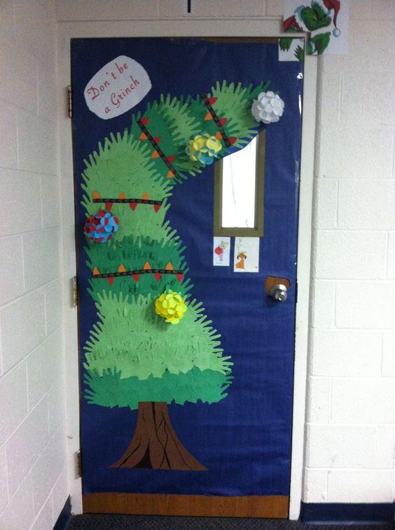 Classroom Christmas Tree Decoration ~ Trees christmas and classroom door on