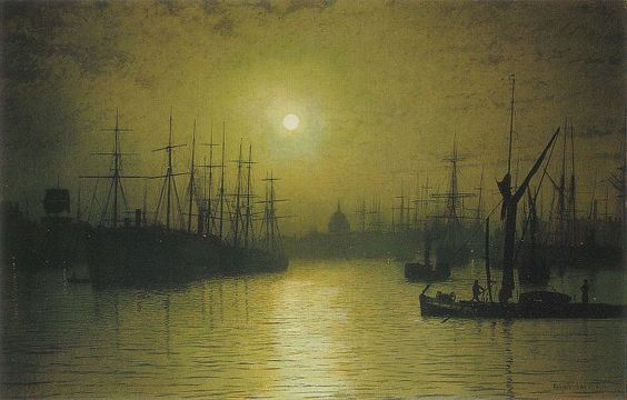Atkinson Grimshaw, Nightfall Down the Thames, 1880