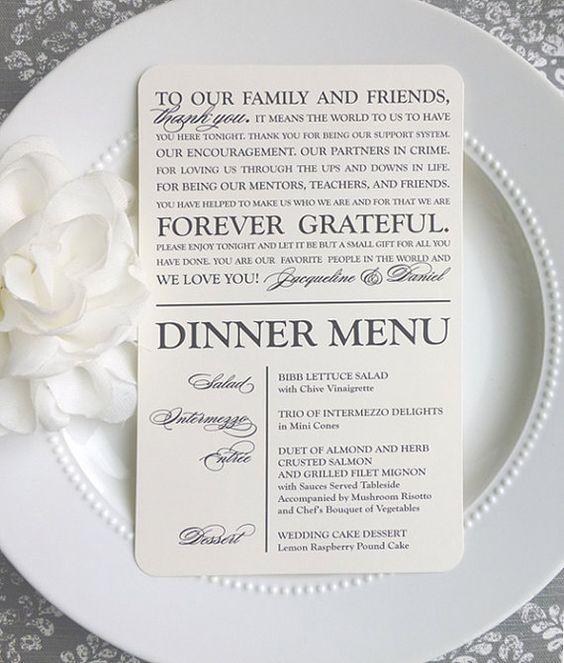 Printable Wedding Thank You Menu  Modern by ThatPrettyInvitation